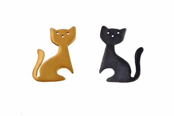 Antria Σκουλαρίκια γάτες από επιχρυσωμένο ασήμι