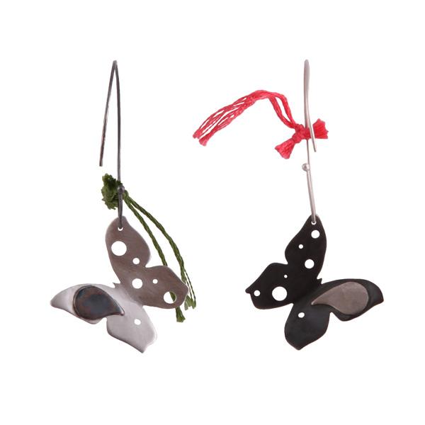 Antria Ασημένια σκουλαρικια γάντζοι πεταλούδες