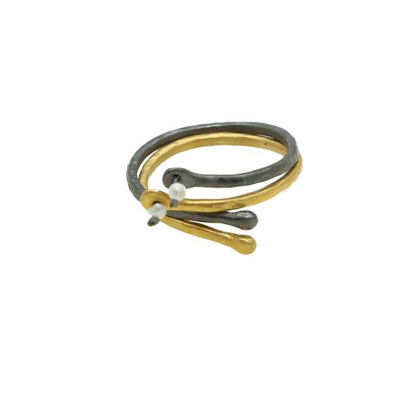 Antria Ασημένια δαχτυλίδια βεράκια χρυσό και μαύρο