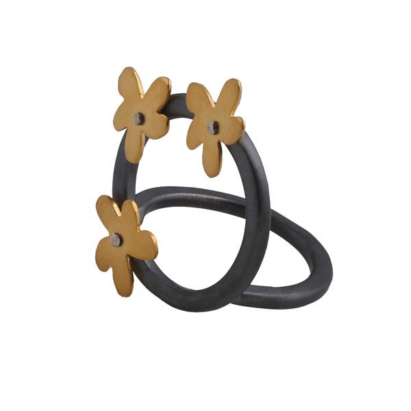 Antria Ασημένιο δαχτυλίδι κύκλος με χρυσά λουλούδια