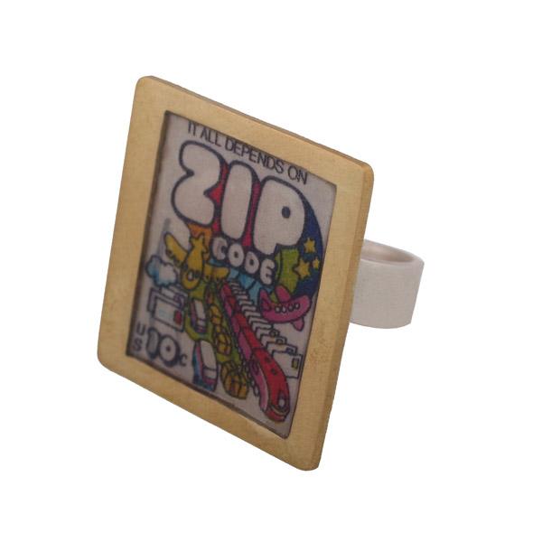 Antria Ασημένιο τετράγωνο δαχτυλίδι γραμματόσημο