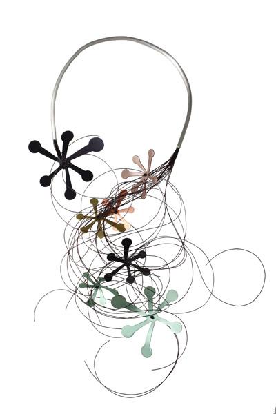 Antria Ασημένιο κολιέ λαιμαριά με λουλούδια από αλουμίνιο
