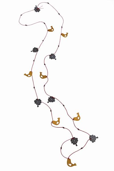 Antria Ασημένιο κολιέ πουλιά και δέντρα με κορδόνι