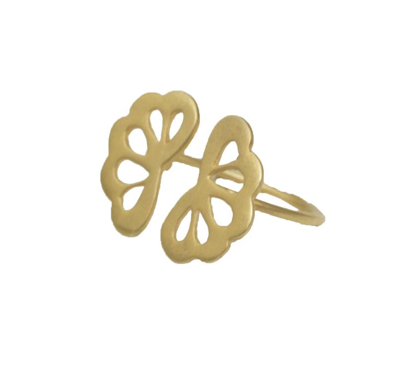 Antria Ασημένιο επιχρυσωμένο δαχτυλίδι λουλούδι