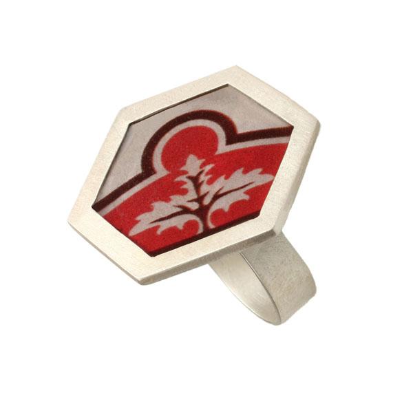 Antria Χειροποίητο ασημένιο εξάγωνο δαχτυλίδι δέντρο