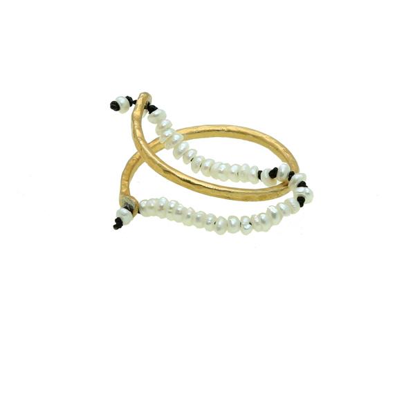 Antria Ασημένιο επίχρυσο δαχτυλίδι βέρα με μαργαριτάρια