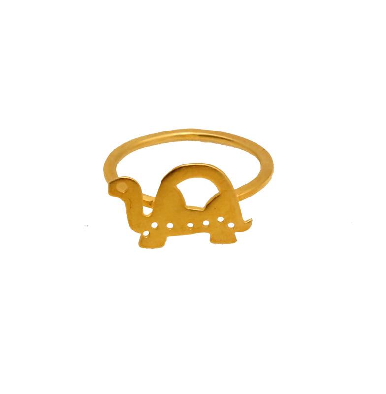 Antria Ασημένιο επίχρυσο δαχτυλίδι χελώνα