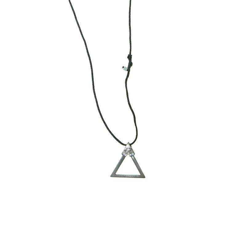 Antria Ασημένιο μενταγιόν σύμβολο της Φωτιάς σε κορδόνι