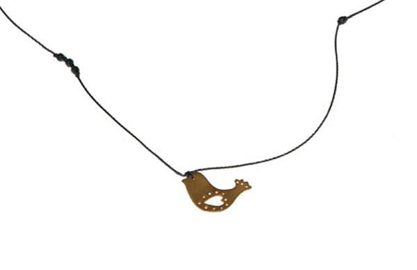 Antria Ασημένιο κολιέ πουλάκι με κορδόνι