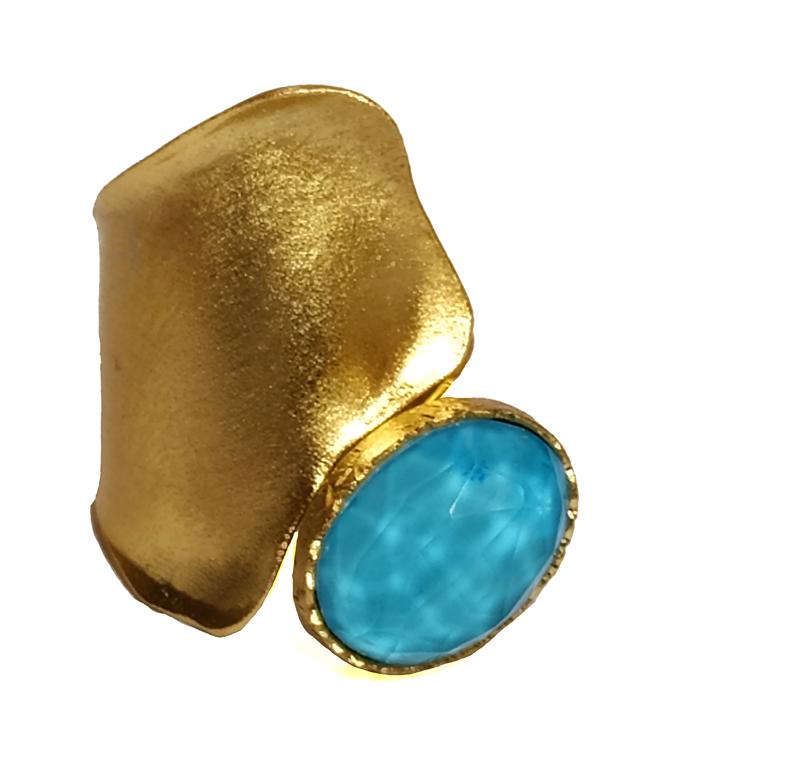 ARTE Ασημένιο επίχρυσο δαχτυλίδι με τιρκουάζ και χαλαζία