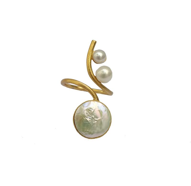 ARTE Ασημένιο δαχτυλίδι με χρυσό και μαργαριτάρια