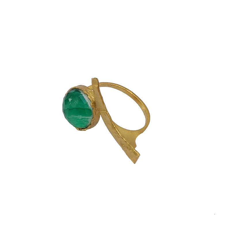 ARTE Ασημένιο δαχτυλίδι με χρυσό και ζαντ με χαλαζία
