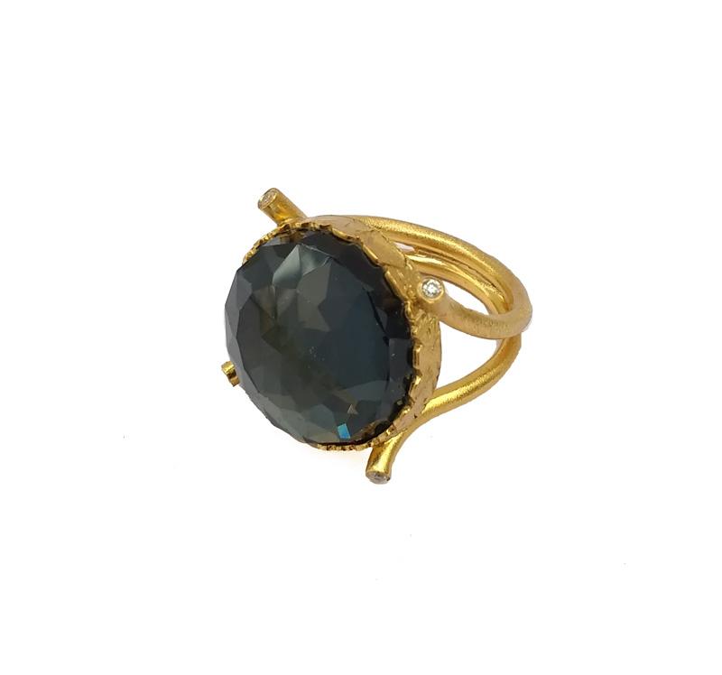 ARTE Ασημένιο δαχτυλίδι με χρυσό, ζιργκόν και σιδηροπυρίτη