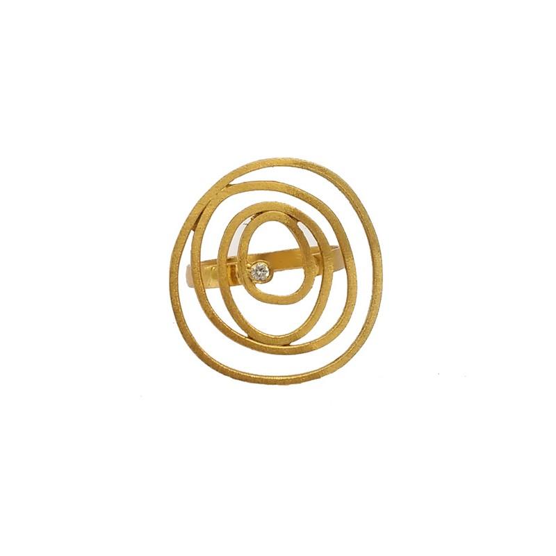 ARTE Ασημένιο επίχρυσο δαχτυλίδι σπείρα με ζιργκόν