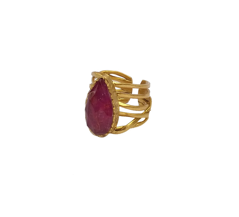 ARTE Ασημένιο δαχτυλίδι με χρυσό, χαλαζία και ρουμπίνι