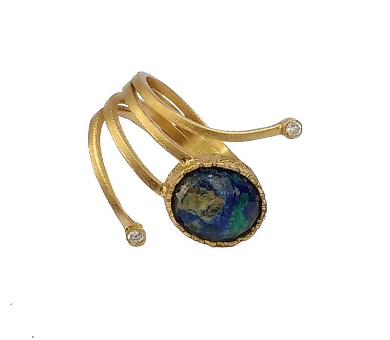 ARTE Ασημένιο δαχτυλίδι με χρυσό και Αζουρομαλαχίτη