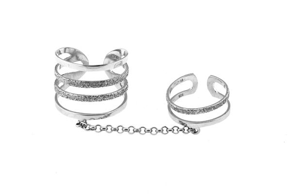 ARTE Ασημένιο διπλό δαχτυλίδι