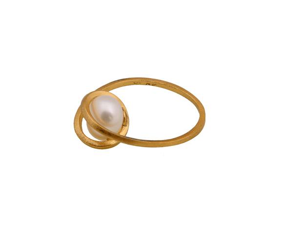 ARTE Μονόπετρο ασημένιο δαχτυλίδι με χρυσό και μαργαριτάρι