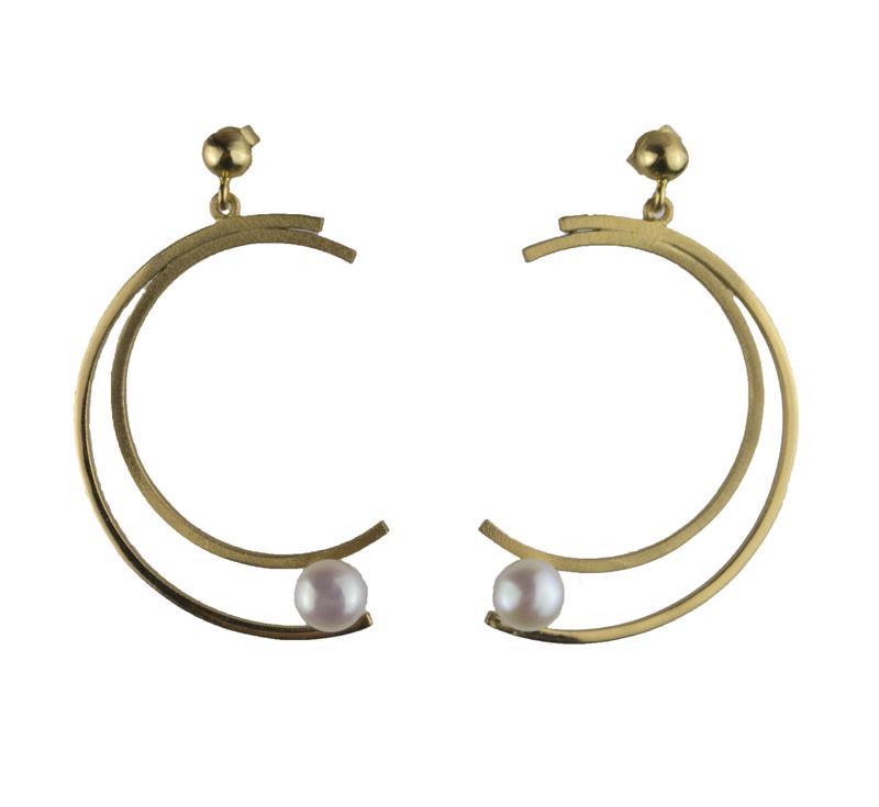 ARTE Ασημένιο σκουλαρίκια μισοφέγγαρο με μαργαριτάρι