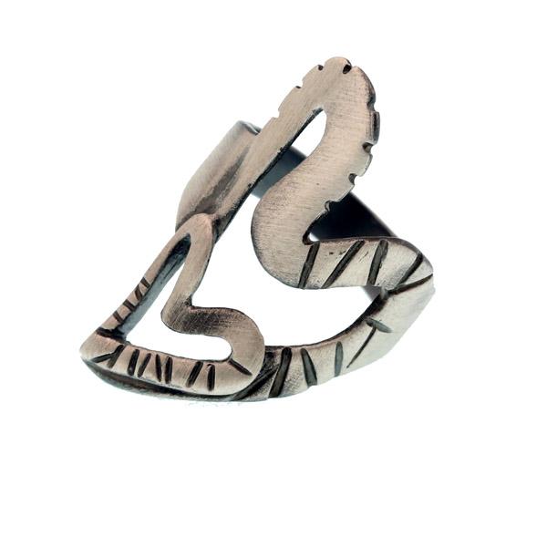 Efstathia Ασημένιο δαχτυλίδι καρδιές από οξειδωμένο ασήμι