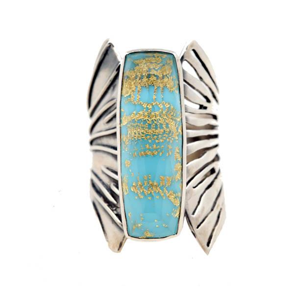 Efstathia Ασημένιο δαχτυλίδι με τιρκουάζ, χαλαζία και χρυσό 22Κ