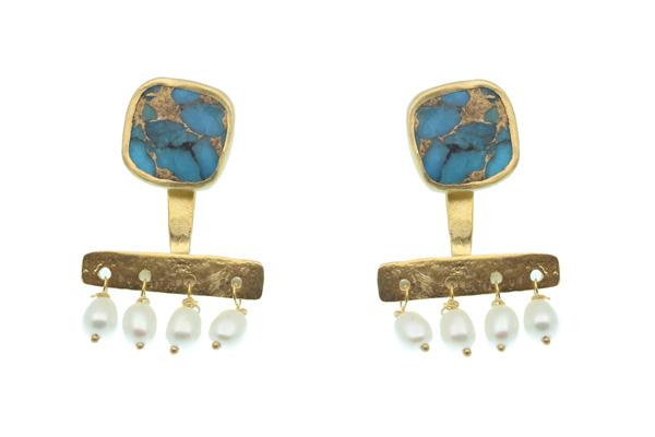 Efstathia Σκουλαρίκια ear jackets με ασήμι, τυρκουάζ, μαργαριτάρια