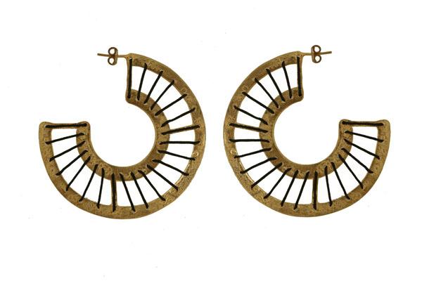 Efstathia Κρίκοι με κορδόνι από επιχρυσωμένο ασήμι