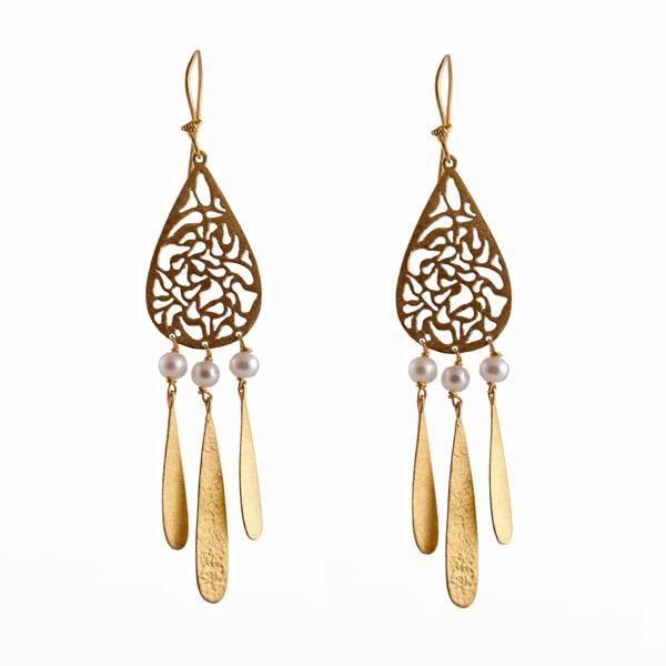 Efstathia Ασημένια κρεμαστά σκουλαρίκια με μαργαριτάρια