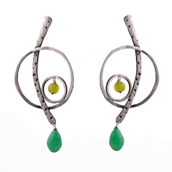 Efstathia Ασημένια σκουλαρίκια κλειδί του σολ με ζαντ