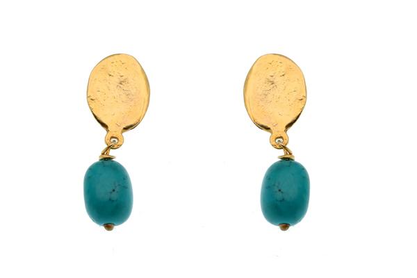 Efstathia Επιχρυσωμένο ασήμι καρφωτά σκουλαρίκια με τυρκουάζ
