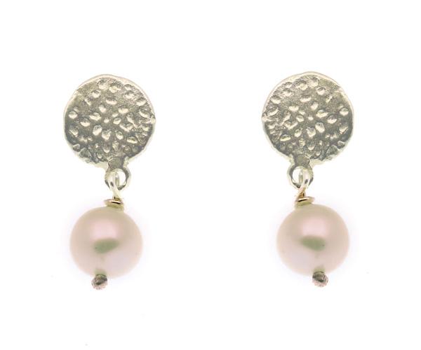 Efstathia Ασημένια καρφωτά σκουλαρίκια με μαργαριτάρι