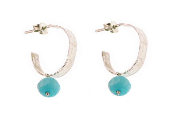 Efstathia Ασημένια καρφωτά σκουλαρίκια κρίκοι με μπλε ζαντ