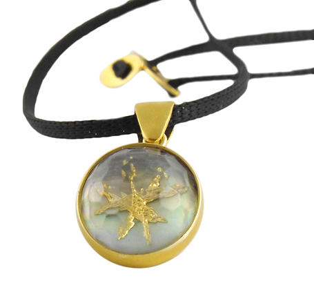 Joy Ασημένιο κολιέ αστέρι με χαλαζία και χρυσό αγιογραφίας