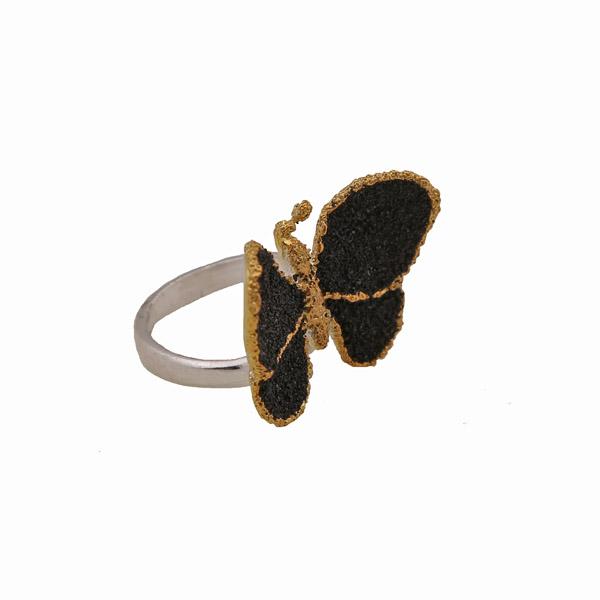 Joy Ασημένιο δαχτυλίδι πεταλούδα με μαύρη λάβα