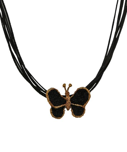 Joy Ασημένιο κολιέ πεταλούδα με λάβα