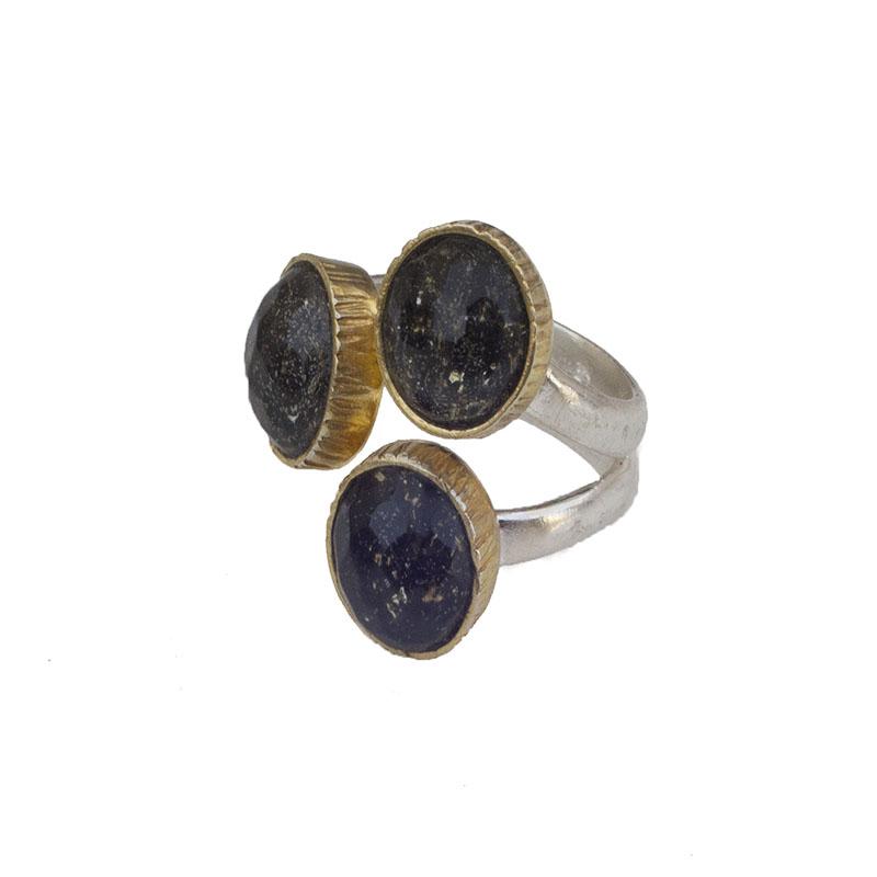 Joy Ασημένιο τριπλό δαχτυλίδι νυχτερινός ουρανός με χαλαζία