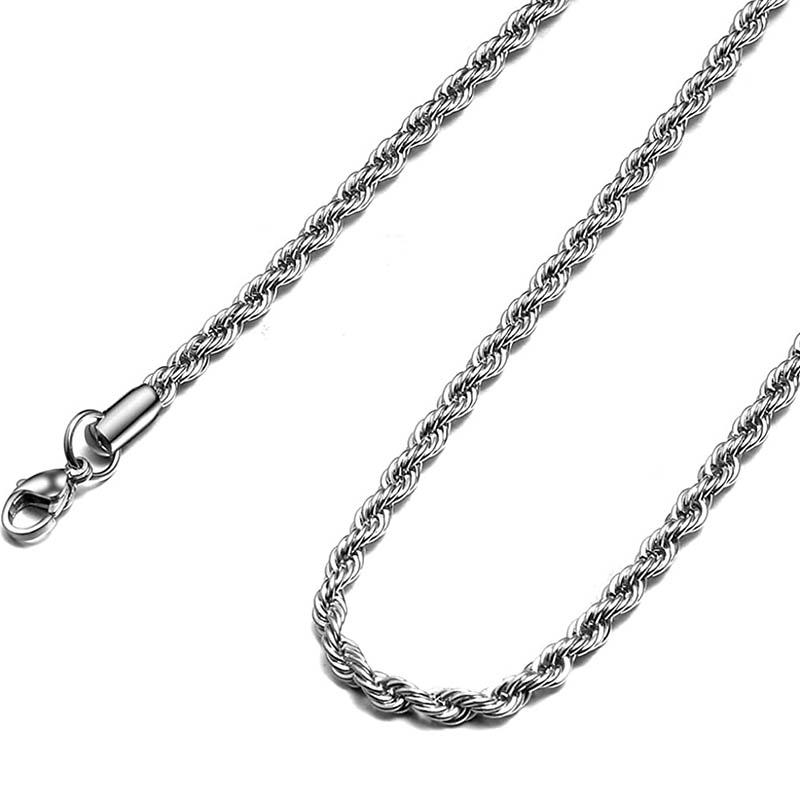 Jt Unisex αλυσίδα λαιμού chain ατσάλι σχοινί 4mm