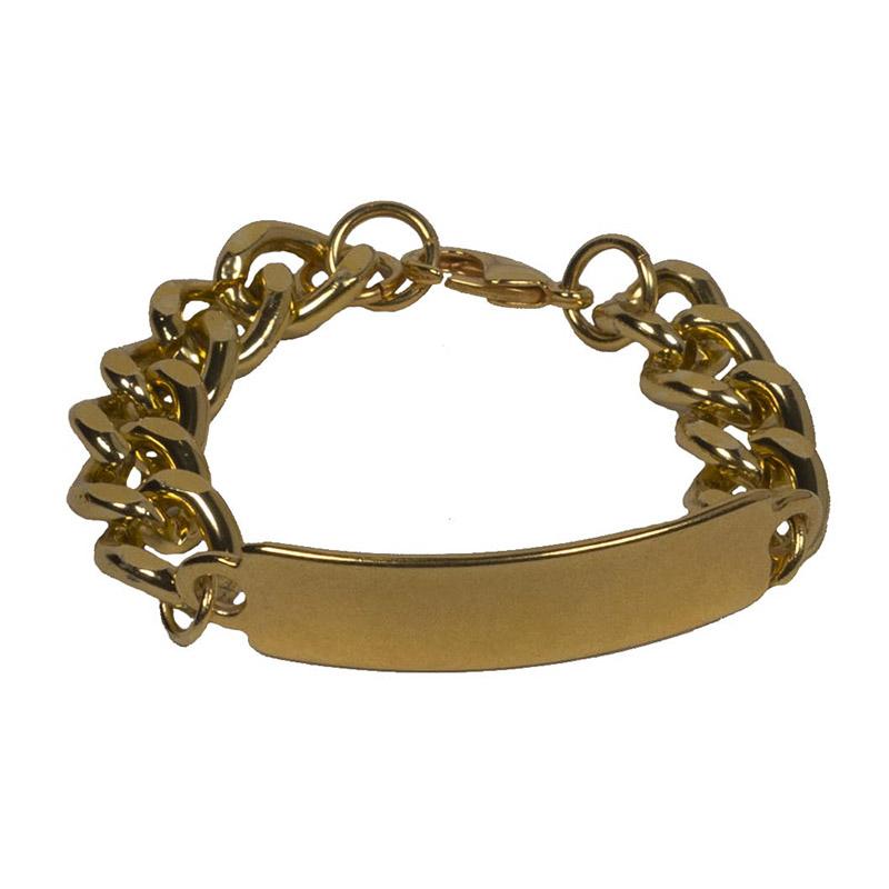 Jt Χρυσό βραχιόλι αλυσίδα ταυτότητα χεριού αλουμίνιο