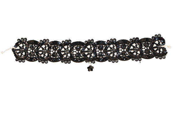 Jt Ασημένιο κολιέ τσόκερ λουλούδι Swarovski με μαύρη δαντέλα