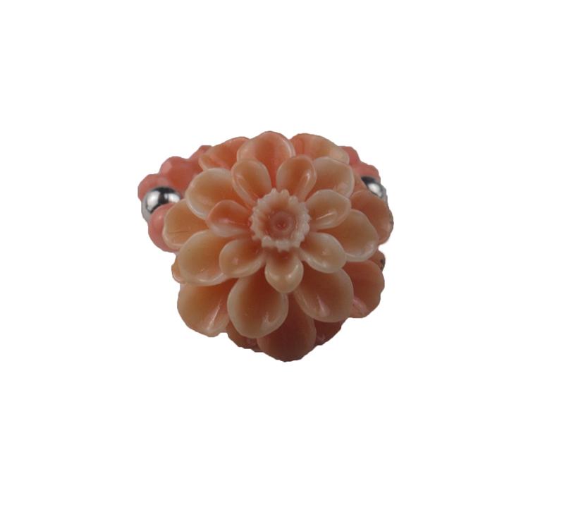 Jt Ασημένιο δαχτυλίδι κοραλί χρυσάνθεμο με κοράλια