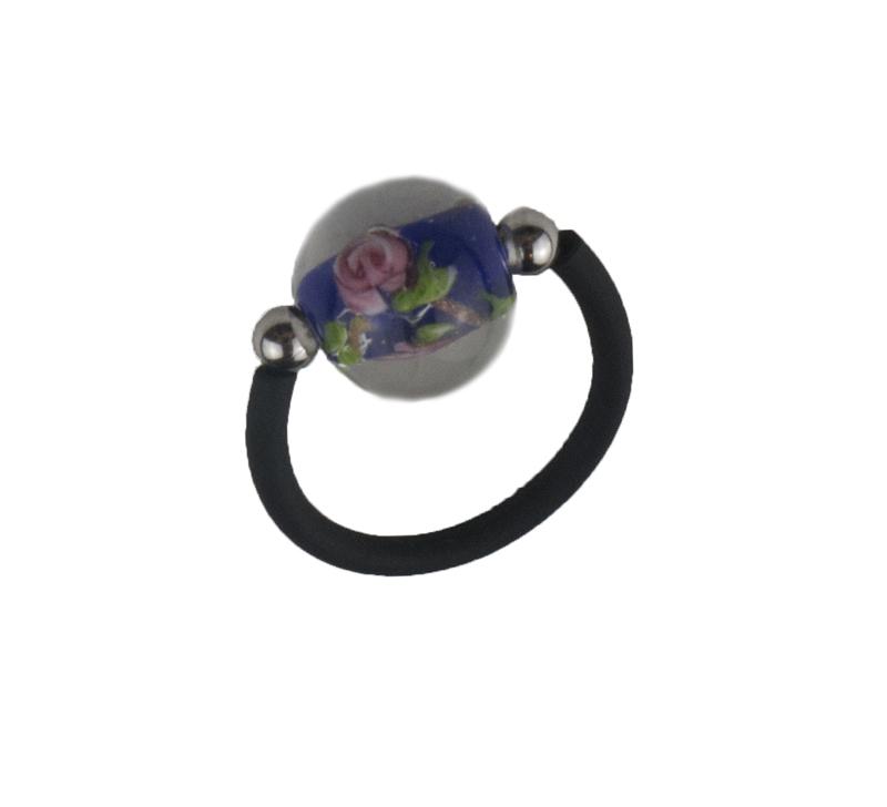 Jt Ασημένιο μονόμετρο δαχτυλίδι μπλε μουράνο και καουτσούκ