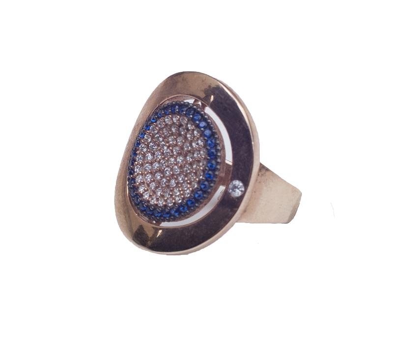 Jt Ασημένιο εντυπωσιακό δαχτυλίδι μάτι στόχος με ζιργκόν