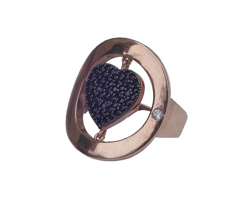 Jt Ασημένιο δαχτυλίδι καρδιά με ζιργκόν