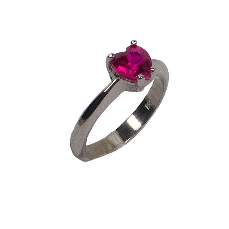 Jt Ασημένιο μονόπετρο δαχτυλίδι καρδιά φούξια ζιργκόν 6mm