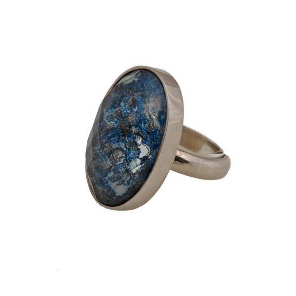 Jt Ασημένιο δαχτυλίδι με χαλαζία και σοδαλίτη