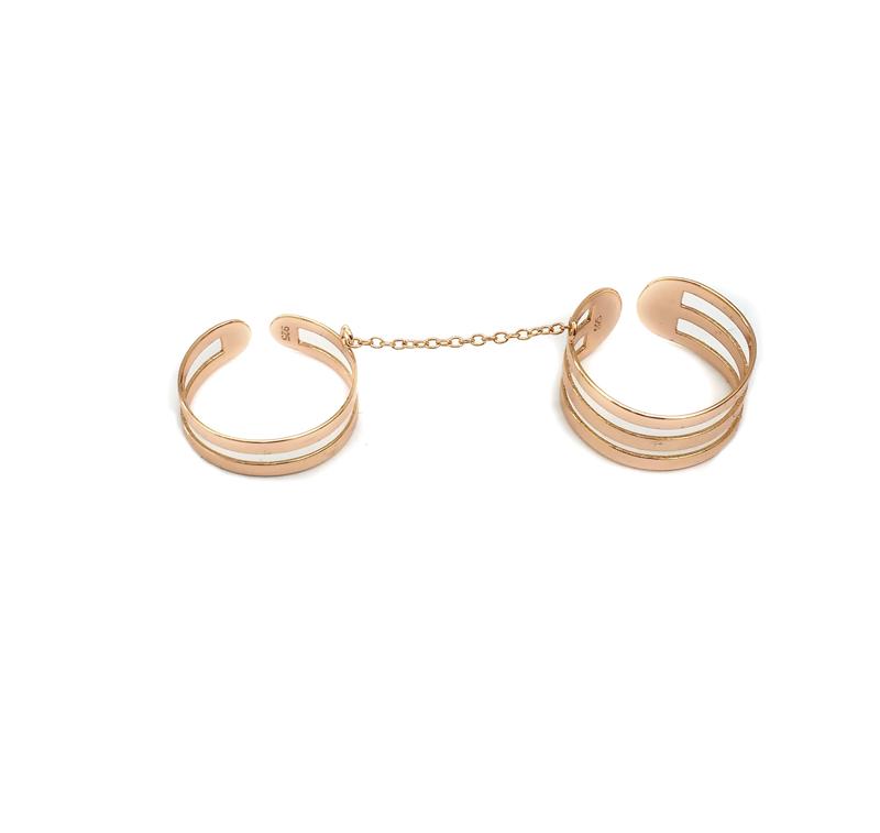 Jt Ασημένιο ροζ διπλό δαχτυλίδι με αλυσίδα