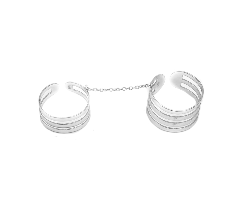 Jt Ασημένιο διπλό δαχτυλίδι με αλυσίδα
