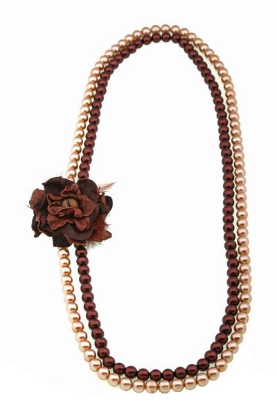 Jt Χειροποίητο μακρύ κολιέ με πέρλες και λουλούδι από δέρμα