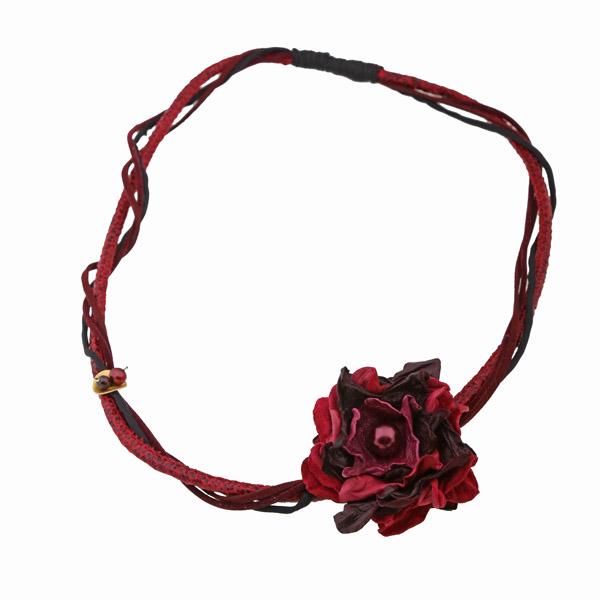 Jt Χειροποίητο δερμάτινο κολιέ μπορντώ και φούξια λουλούδι