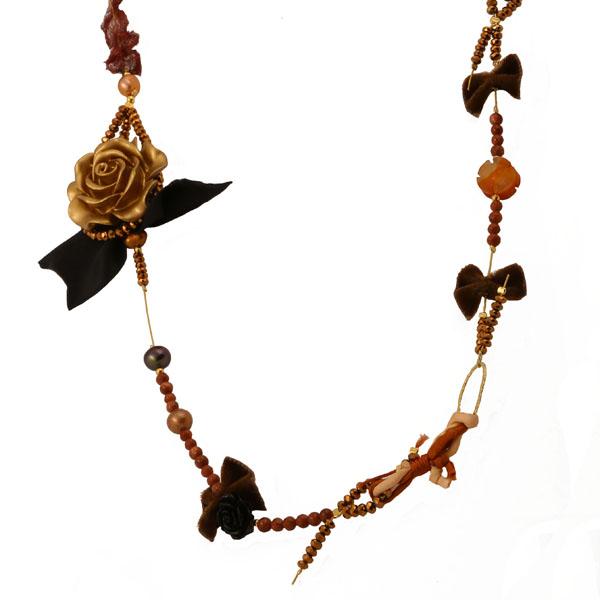 Jt Ασημένιο κολιέ λουλούδι με ημιπολύτιμες πέτρες, μαργαριτάρια, Swarovski